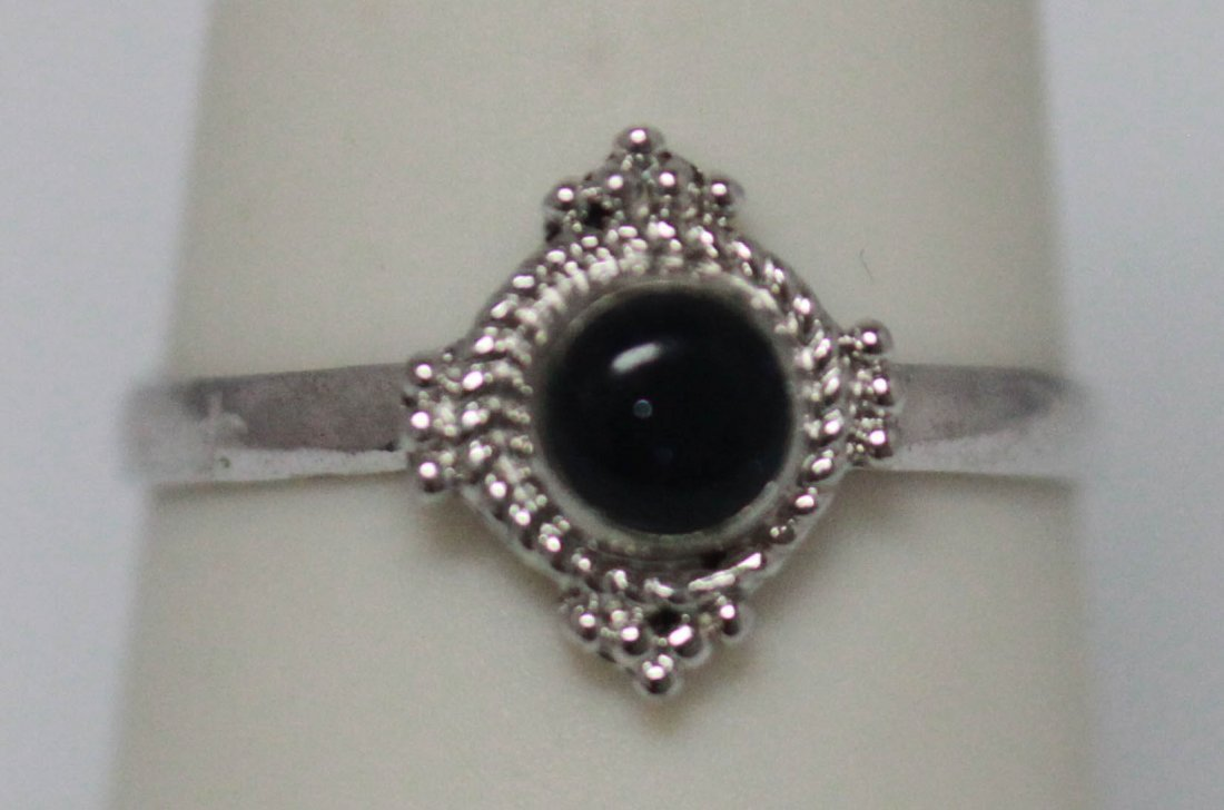 5.95 CTW BLACK ONEX RING .925 STERLING SILVER