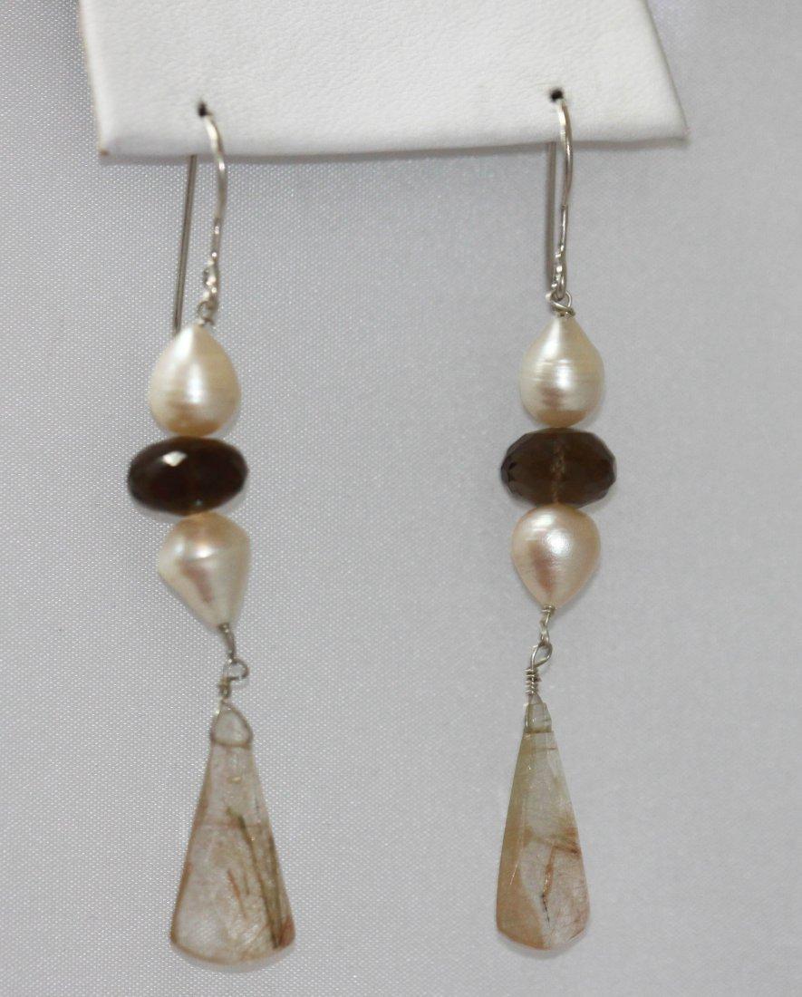 35.10 CTW Natural Pearl/Semiprecious EARRINGS .925 Ster