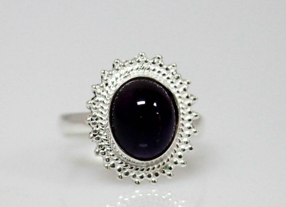 3.01 CTW Antique Style Amethyst Ring .925 Sterling Silv