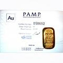 Gold Bars: Pamp Suisse Poured 100 Gram Gold Bar (3.215