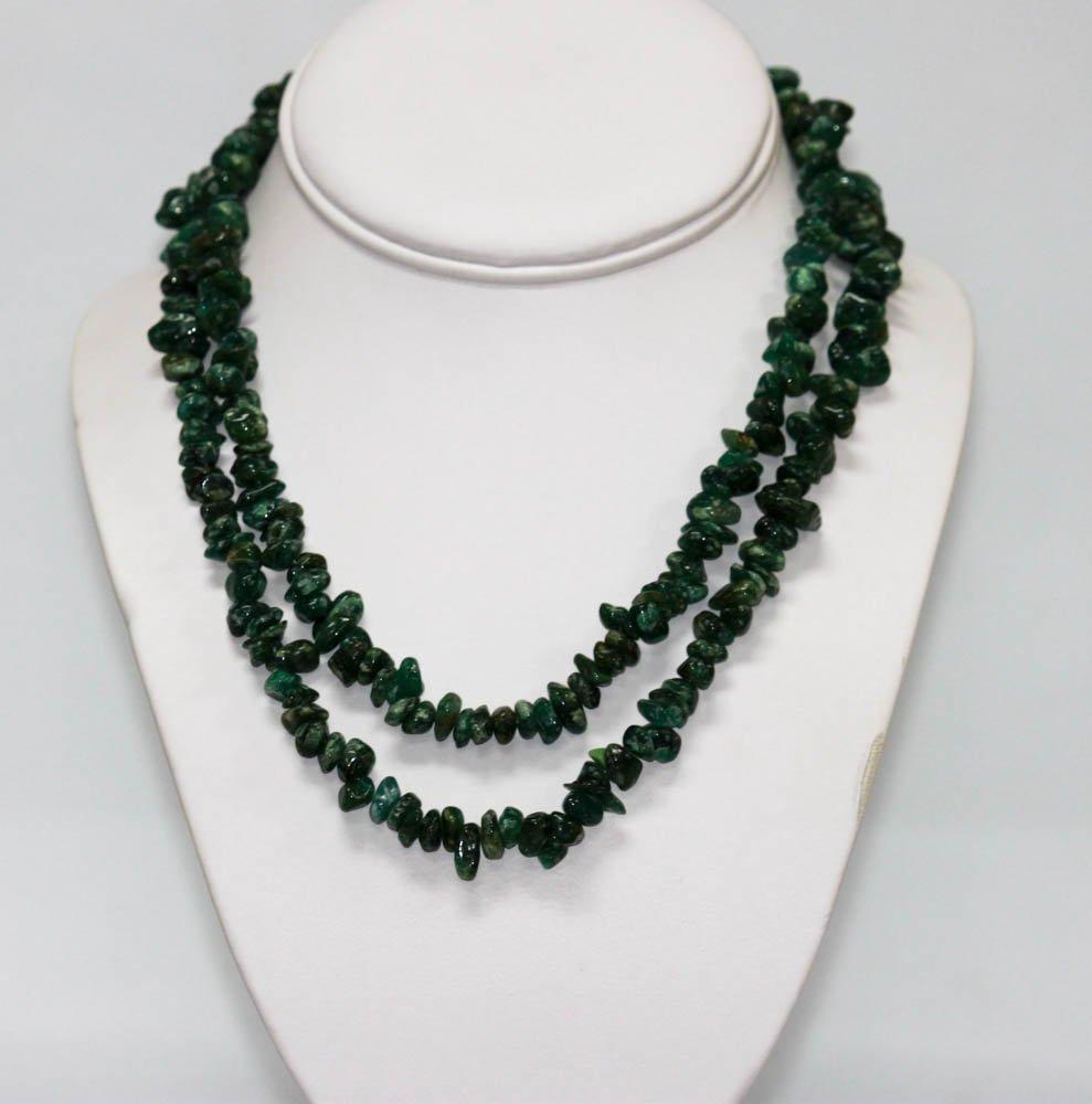 340.01 CTW Natural Un-Cut Beaded Emerald Necklace