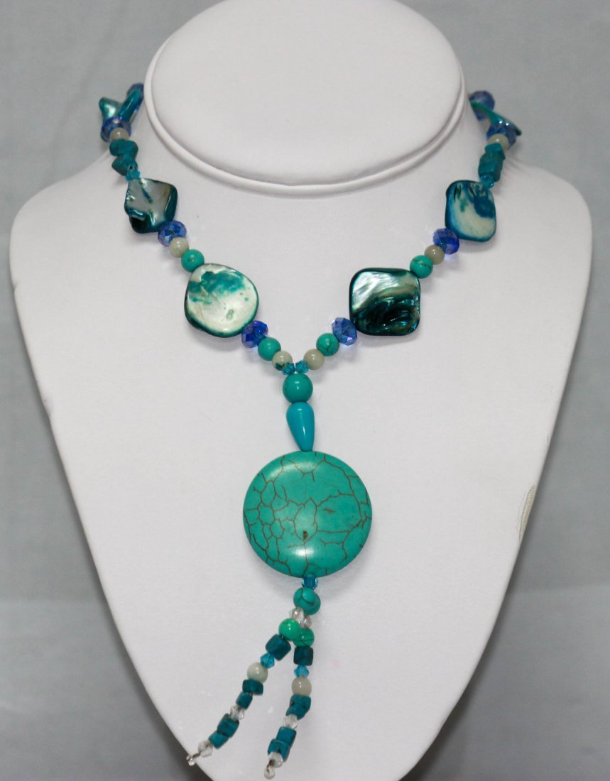 BEADED BLUE TURQUOISE 266.00CTW WITH MOTHER OF PEARL NE