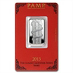 10 gram Pamp Suisse Silver Bar - Year of the Snake (In
