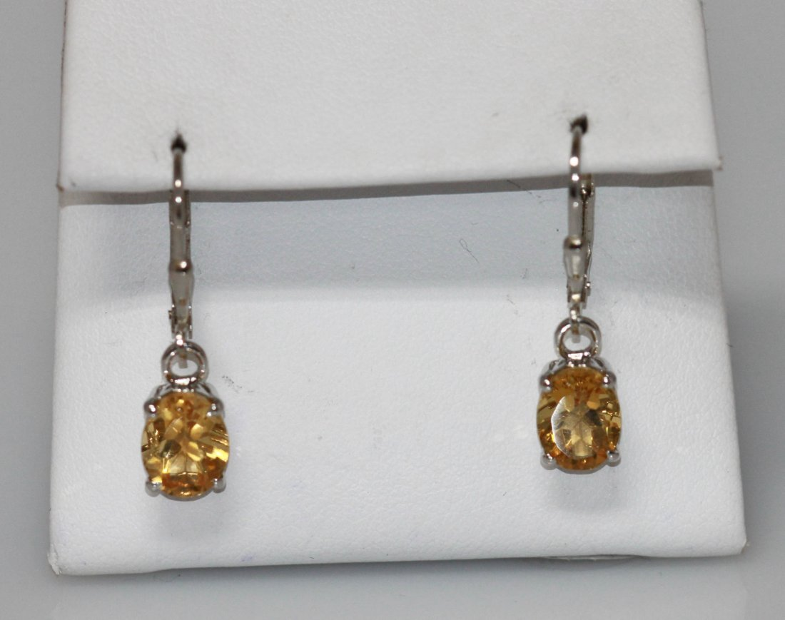 3.49 CTW CITRINE EARRINGS .925 STERLING SILVER