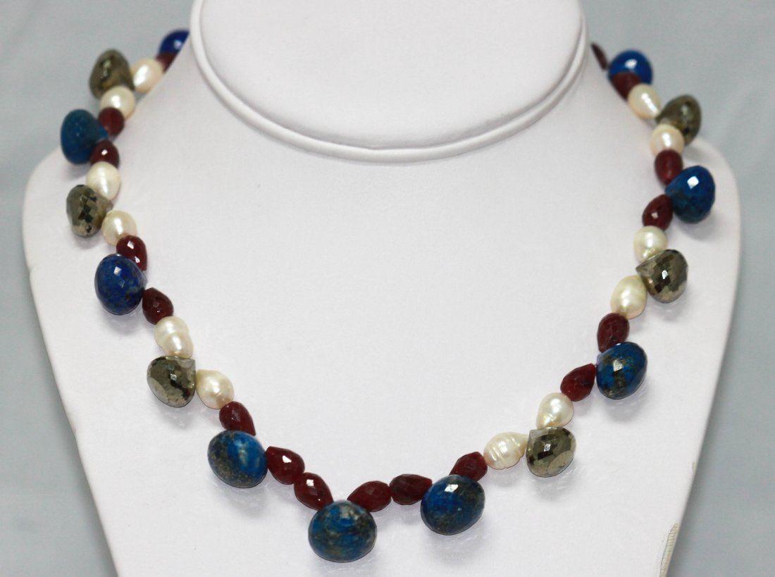 390.00 CTW Natural Pearl, Ruby, Lapis, Semi Precious N