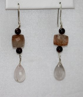 Natural 36.00 ctw Semi Precious Earring .925 Sterling S