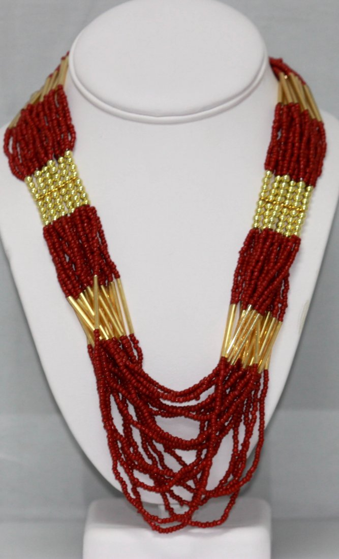 CURTAIN BEADED RED GOLD NECKLACE 20INCH