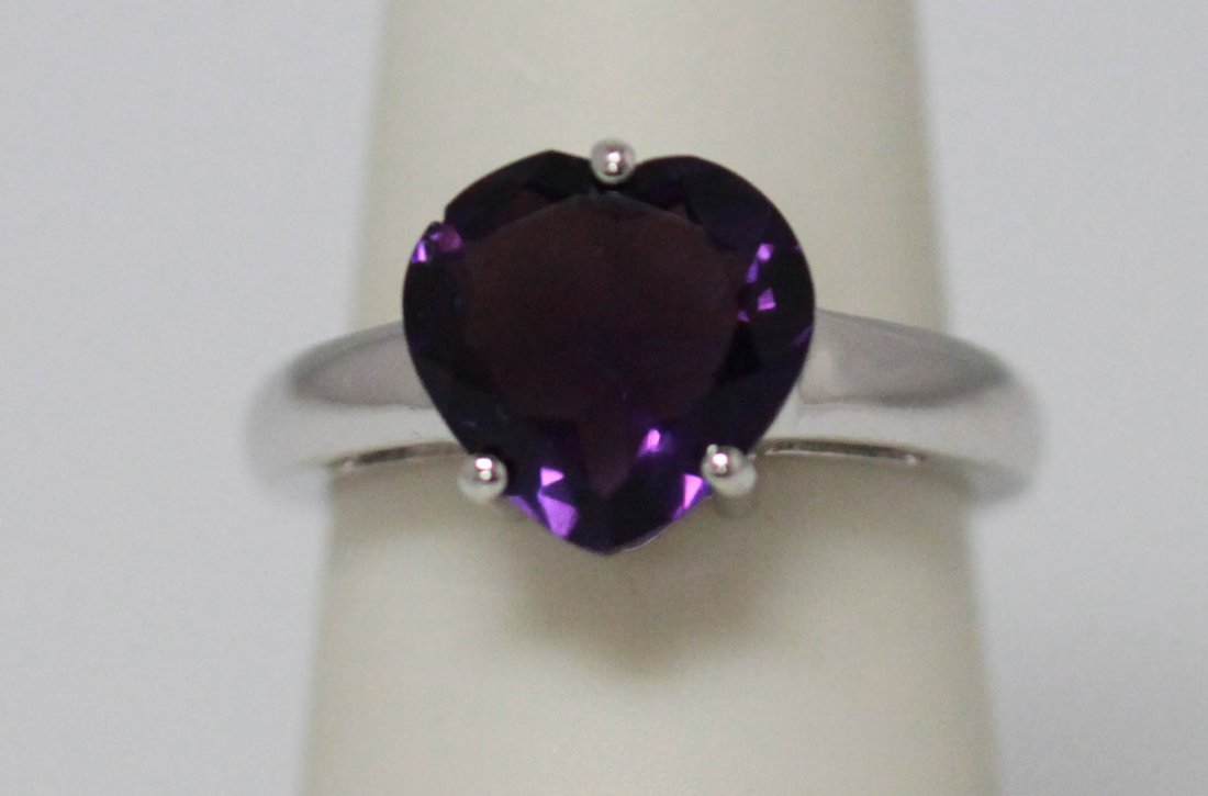 4.01 CTW AMETHYST RING .925 STERLING SILVER