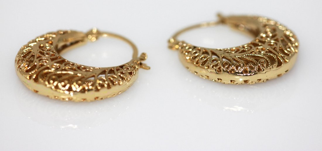 14K GOLD PLATED HALF LOOP CAGE STYLE EARRINGS