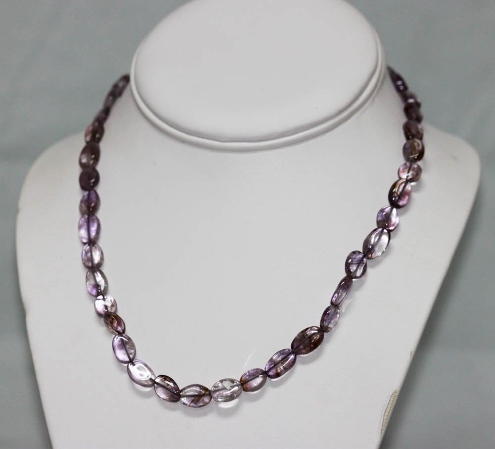 80.01 CTW Natural Amethyst Beads Necklace w/brass clas