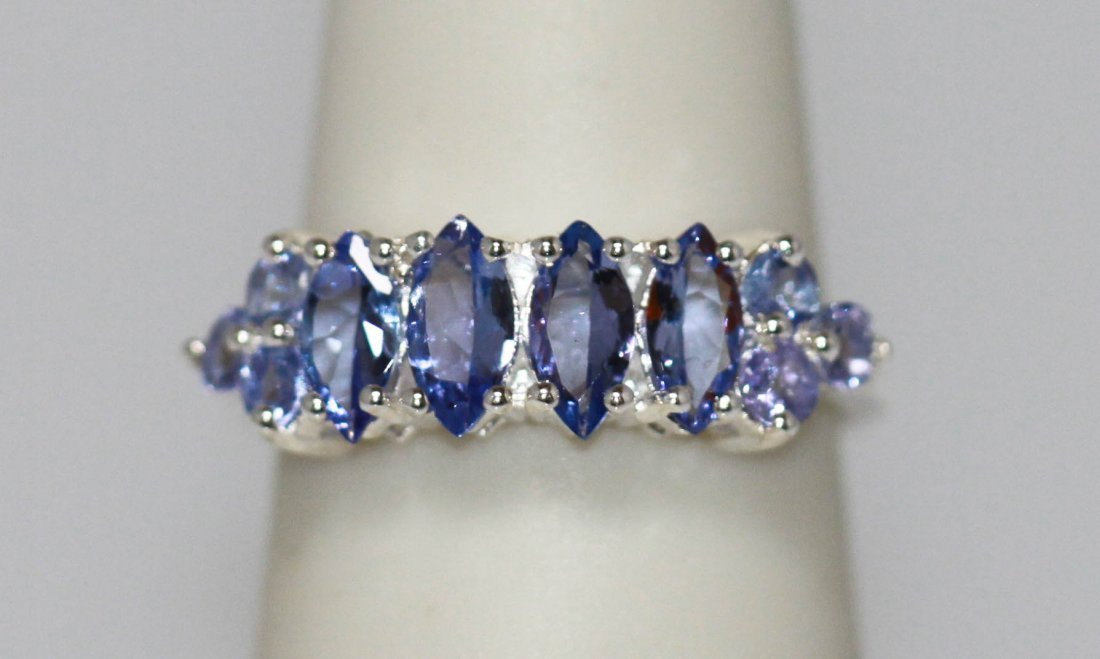 1.01 CTW TANZANITE RING .925 STERLING SILVER