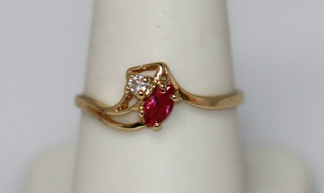 14K GOLD PLATED CZ RED AND CLEAR RING SMALL