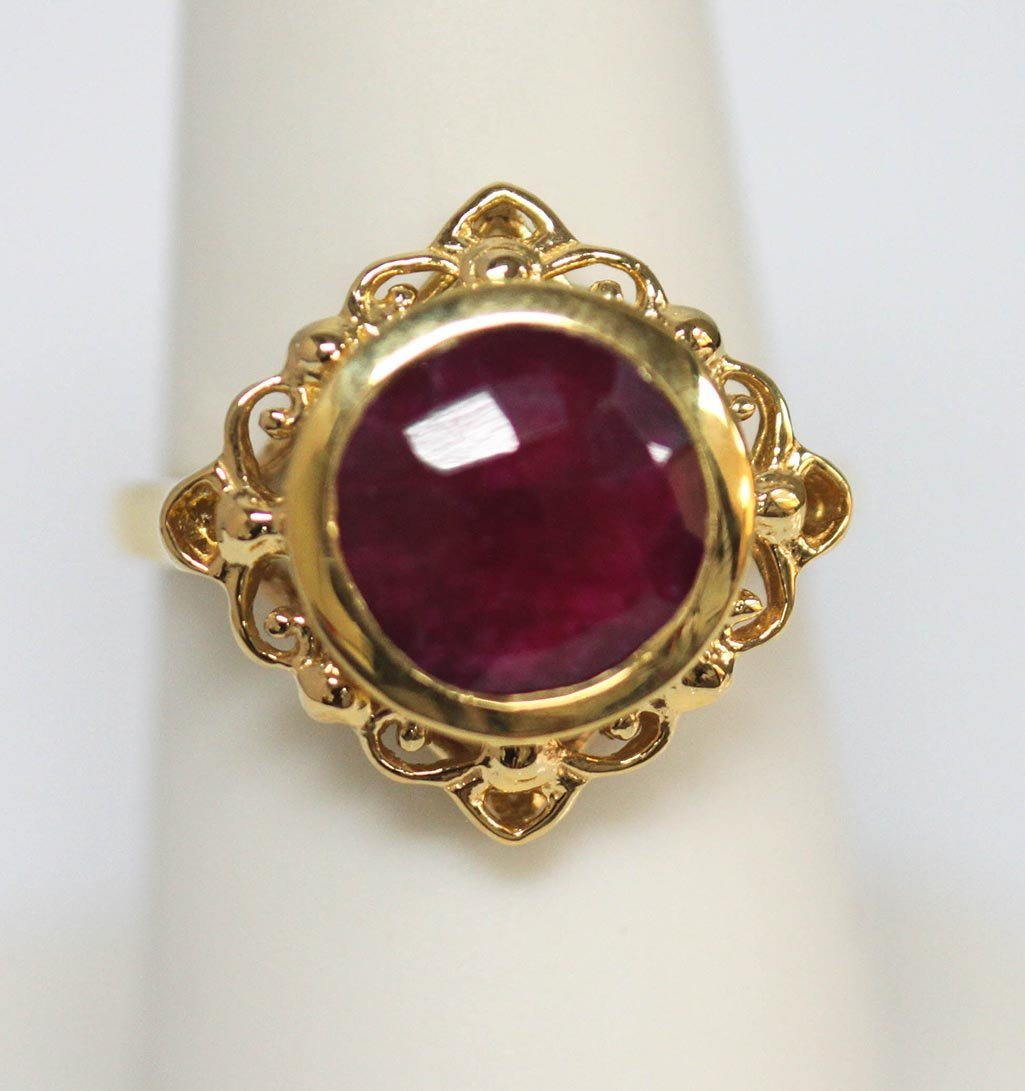 4.00 CTW 14K GOLD PLATED RUBY RING