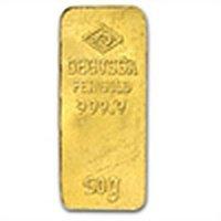 50 gram Degussa Gold Bar .9999 Fine