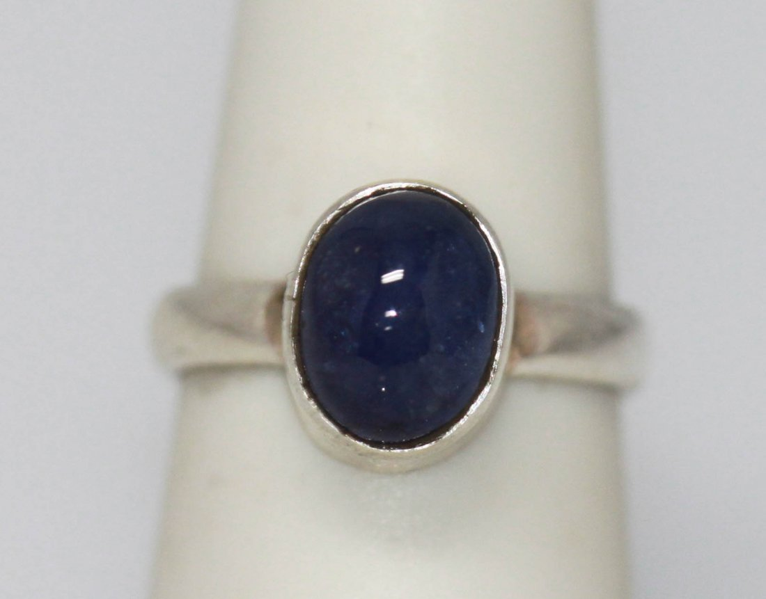 3.50 CTW NATURAL TANZANITE OVAL CUT RING .925 STERLING