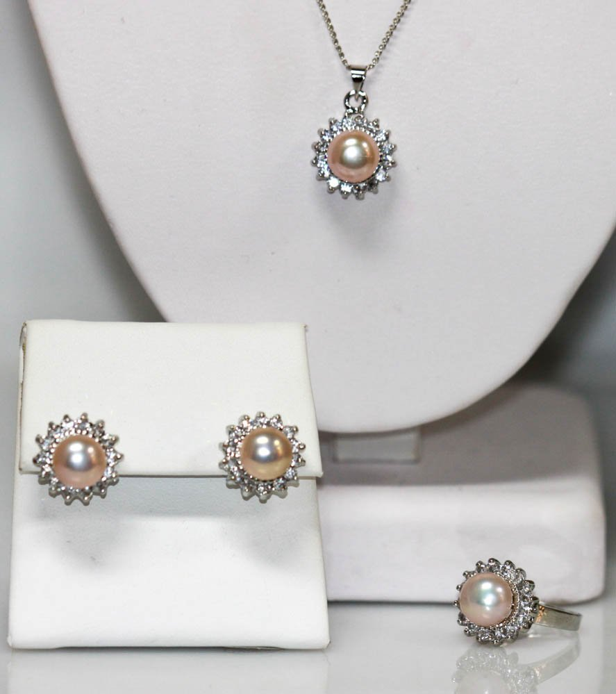 Peach Pearl And CZ Earring, Ring & Pendant w/chain