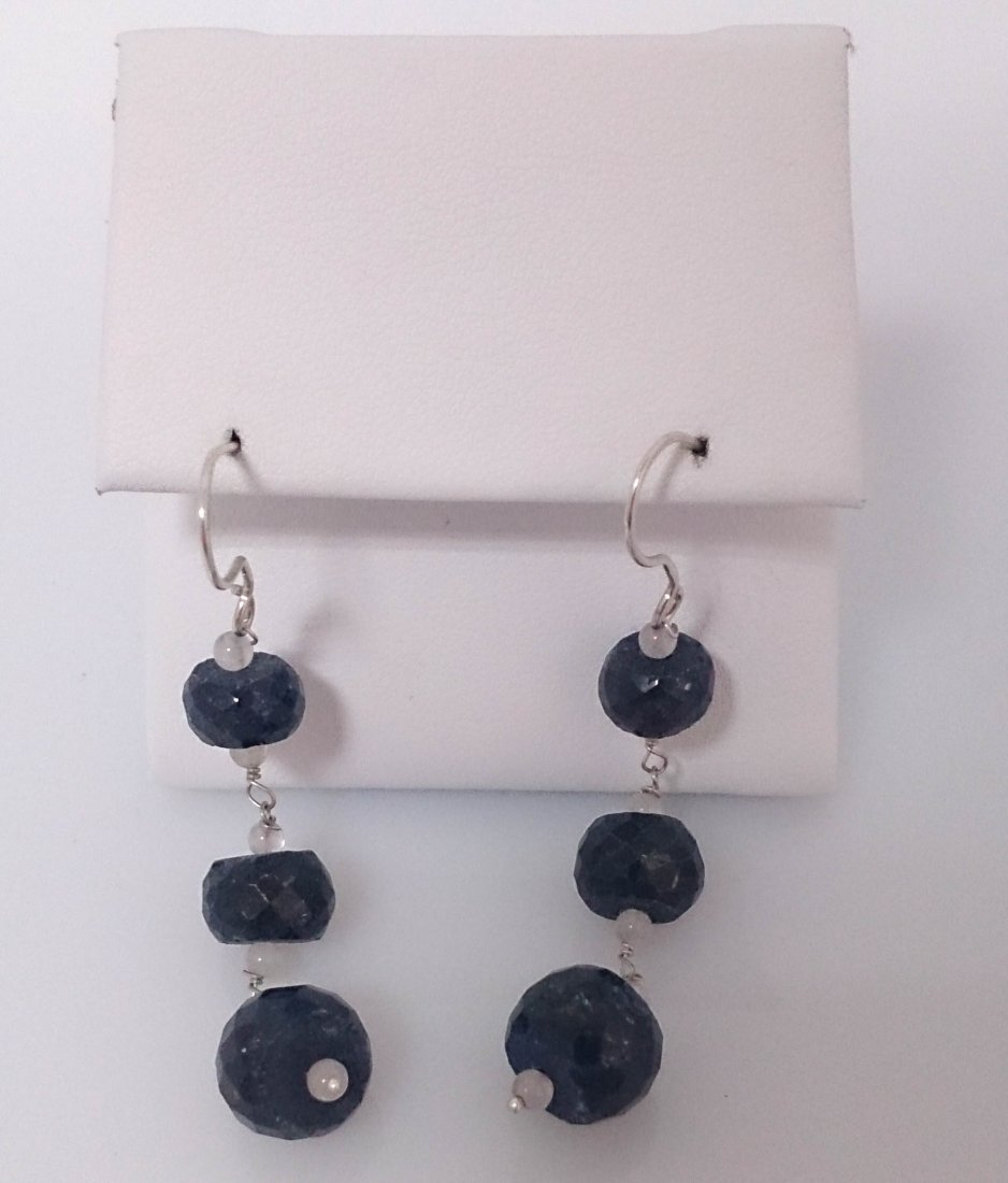 35.00 ctw Sapphire Earring .925 Sterling Silver
