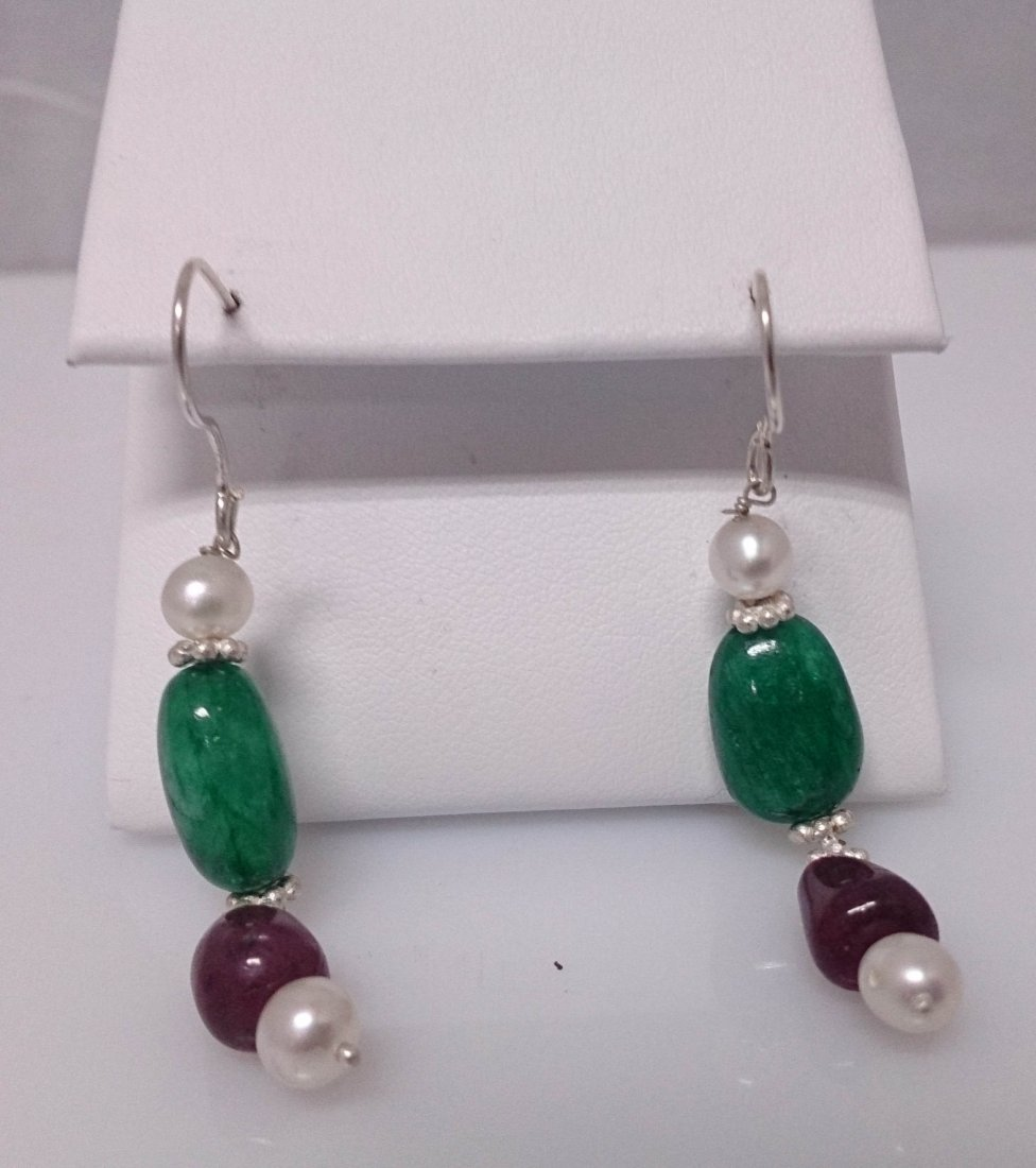 23.00 ctw Pearl/Emerald/Ruby Earring .925 Sterling Silv