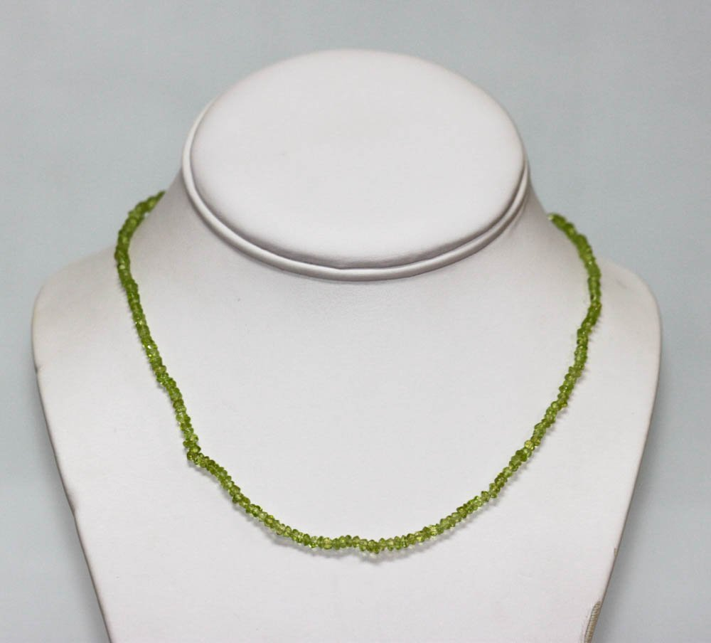 40.01 CTW Natural Peridot Single Row Necklace with bras