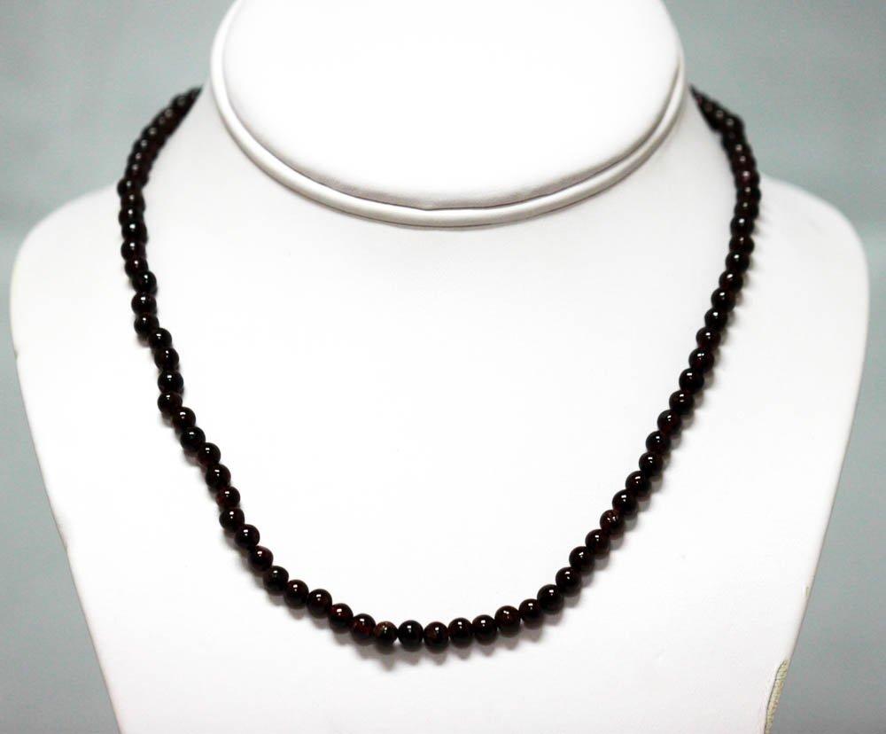 98.70 CTW Garnet round beads Necklace