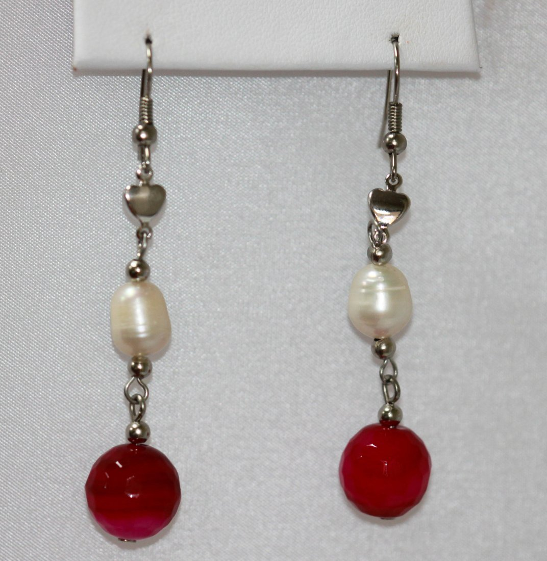 25.64CTW DUO CHAMPAGNE PEARL SILVER DANGLING EARRINGS;A