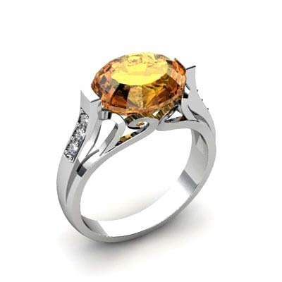 Genuine 4.29 ctw Citrine Ring 10k W/Y Gold