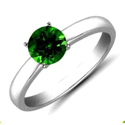 Emerald 0.80 ctw Solitaire Ring 14kt W/Y Gold