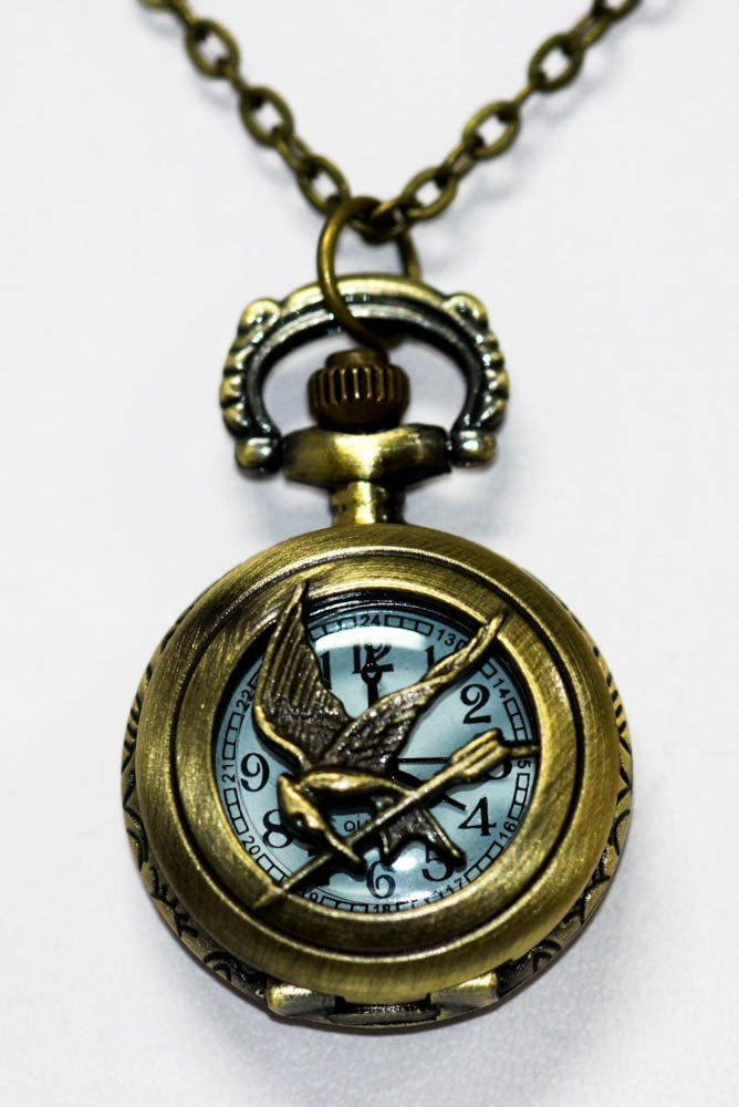 Vintage Style Mocking Jay Pocket Watch with Antique Bro