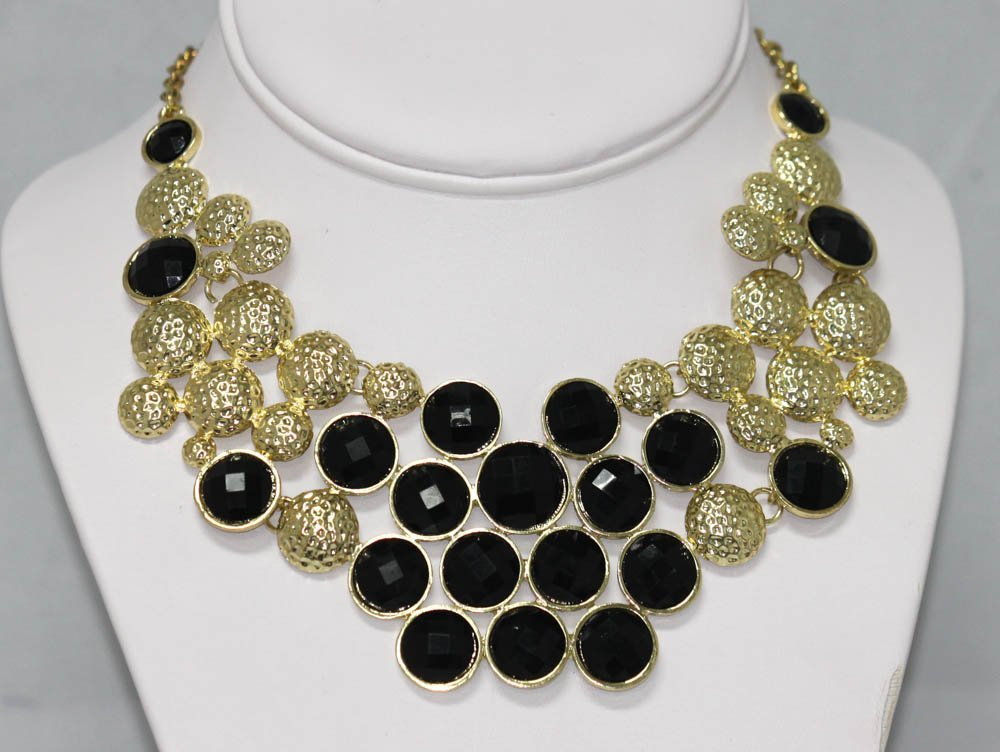 202CTW BLACK STRAWBERRIES BRASS NECKLACE;18INCH