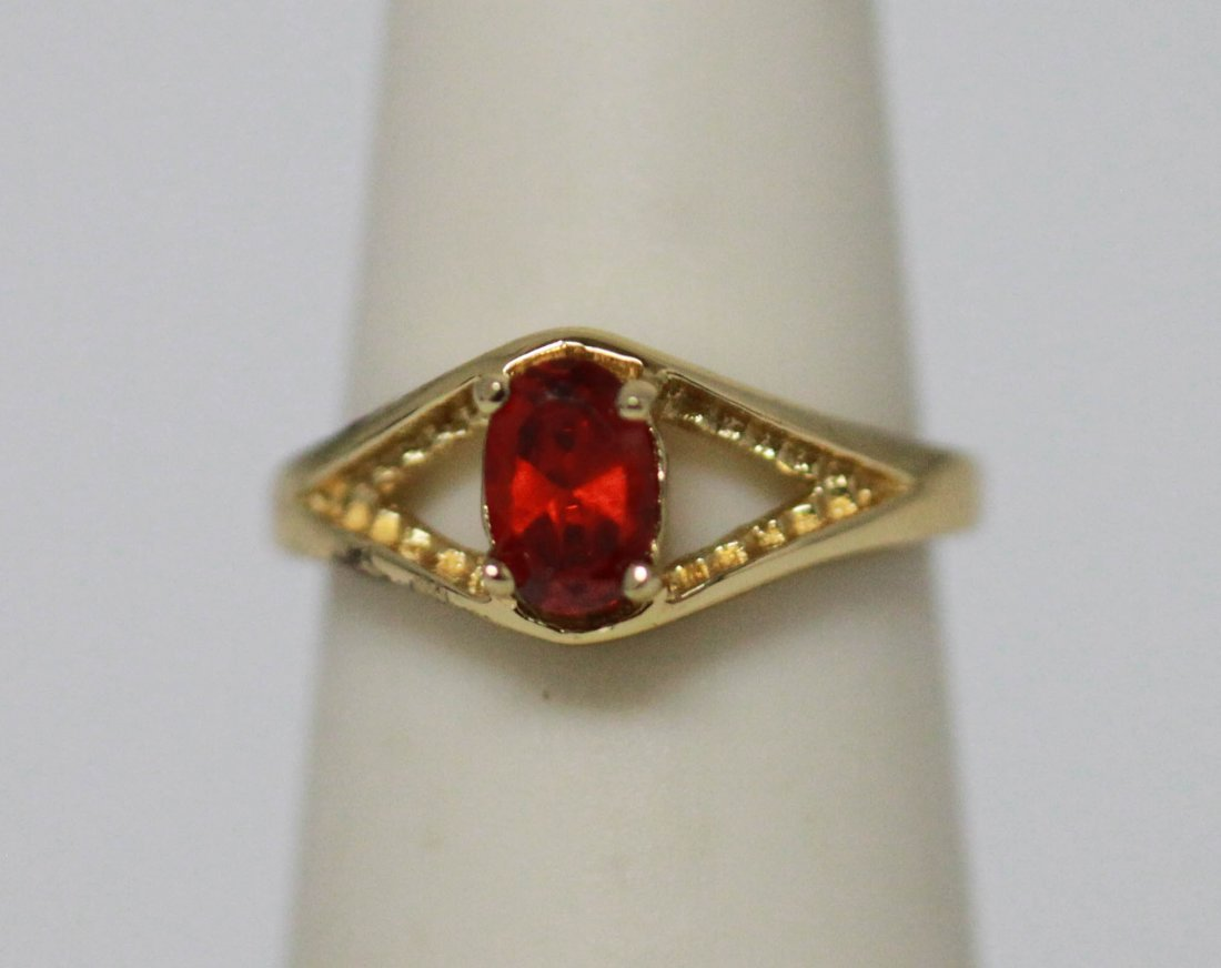 14K GOLD PLATED CZ RED RING