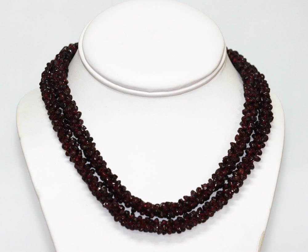 600.01 CTW Natural Un-Cut Red Gernet Necklace