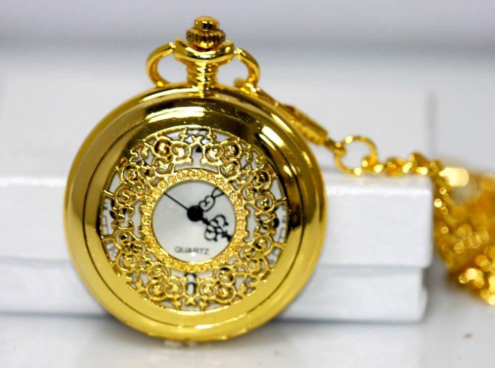GOLD VINTAGE STYLE POCKET WATCH W/FILIGREE DESIGN