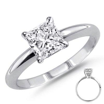 0.90 ct Princess cut Diamond Solitaire Ring, G-H, SI2
