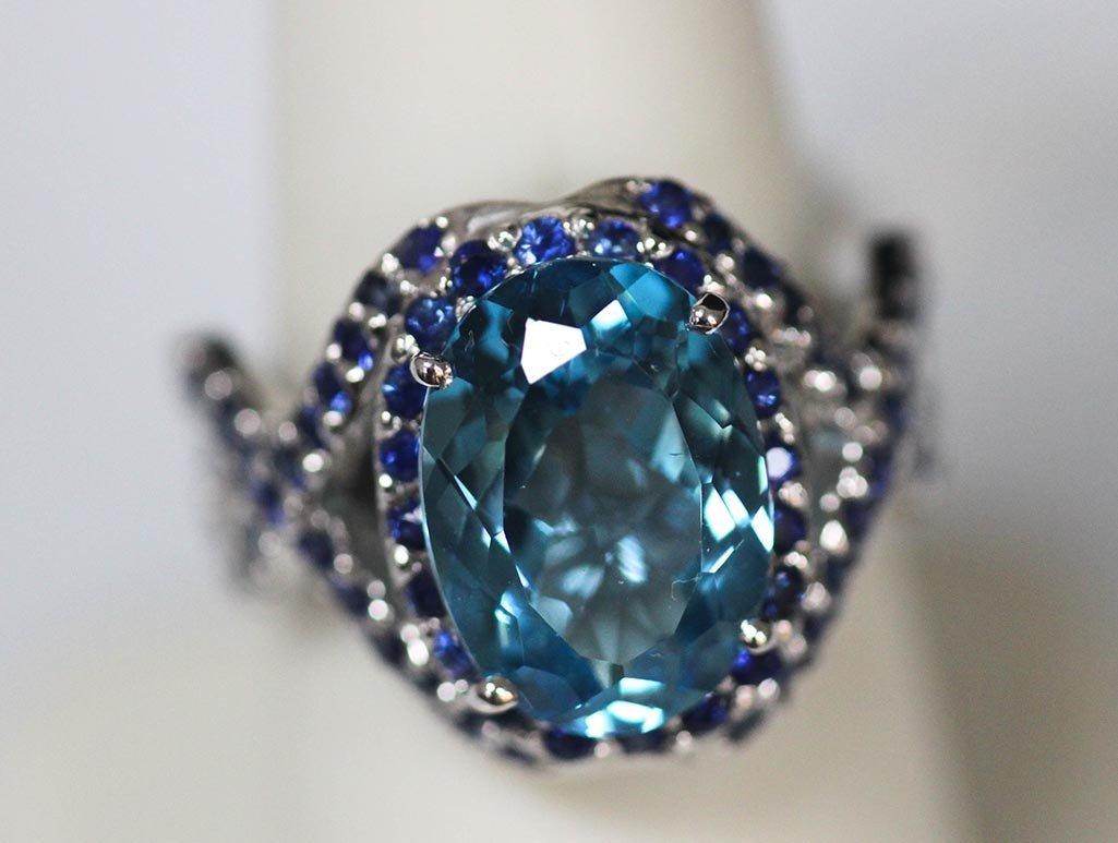 8.11 CTW BLUE TOPAZ & SAPPHIRE RING
