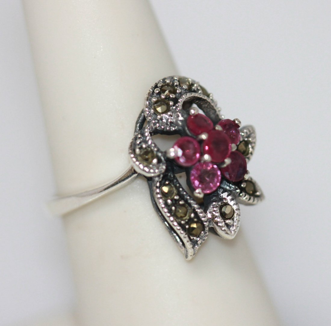 .79 CTW RUBY RING ANTIQUE STYLE JEWELRY .925 STERLIN