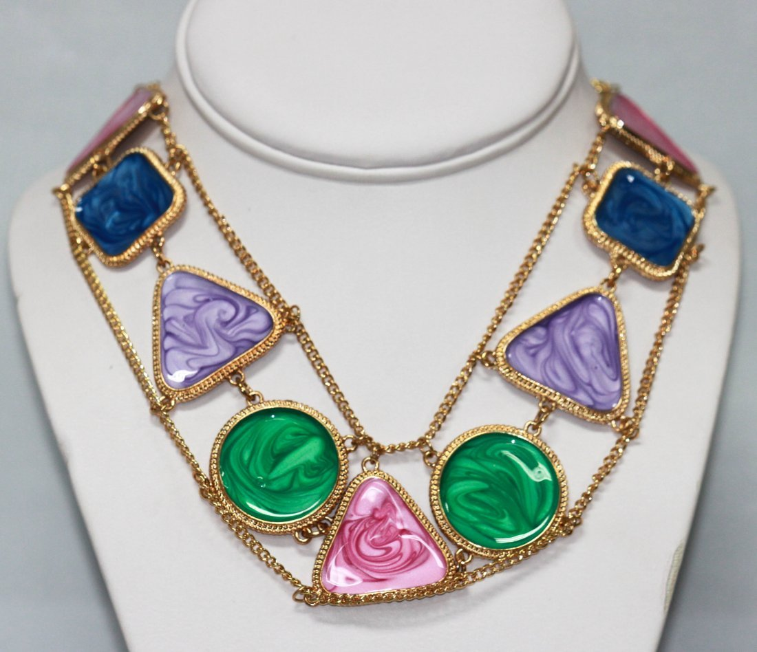 300CTW MULTICOLOR MULTISHAPED BRASS NECKLACE