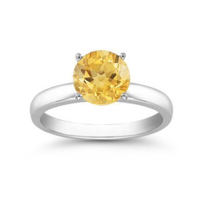Genuine 1.30 ctw Citrine Solitaire Ring 14kt Gold-White