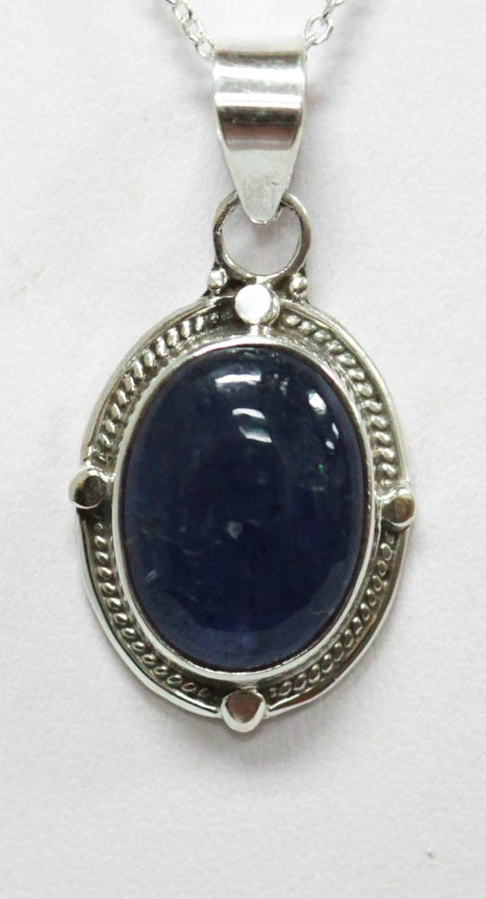 8.30 CTW Antique Style Tanzanite Oval Pendant .925 Ster