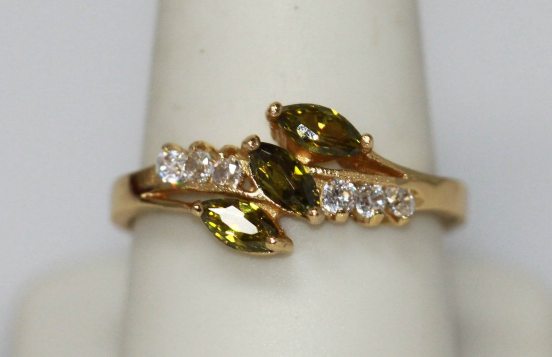 14K GOLD PLATED GREEN AND CZ RING