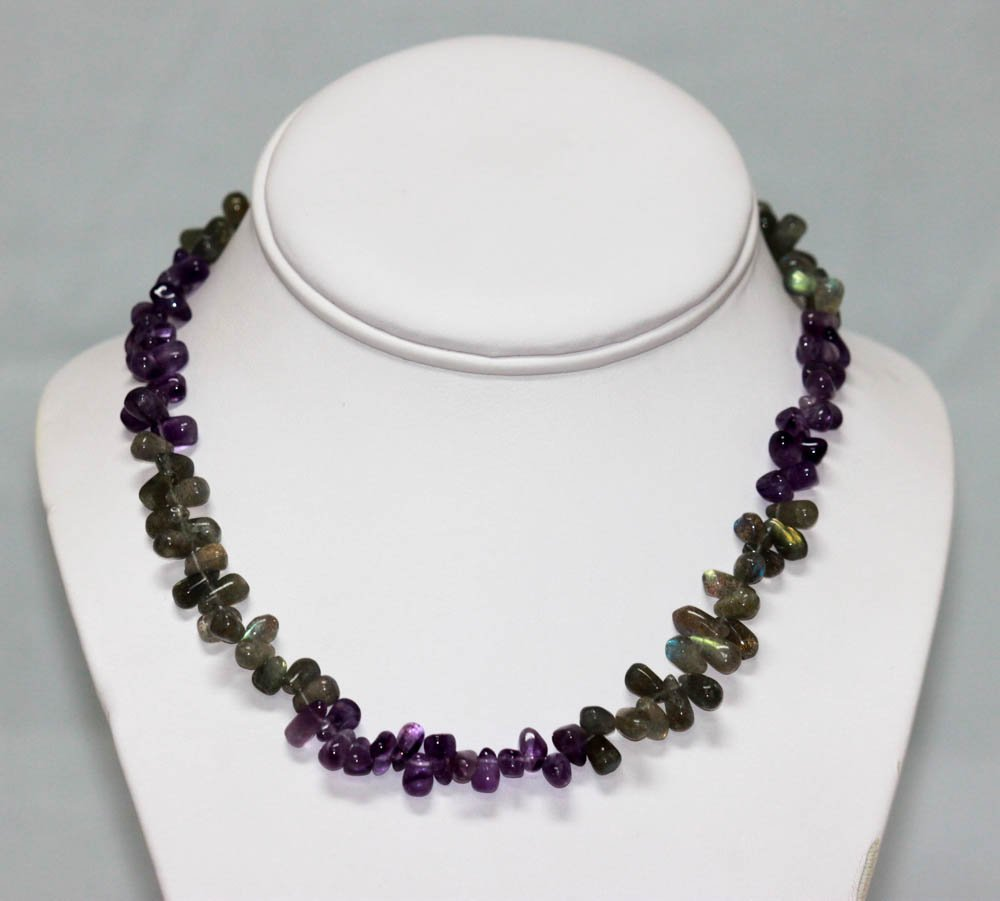 150.01 CTW Natural Amethyst And Moon Stone Necklace