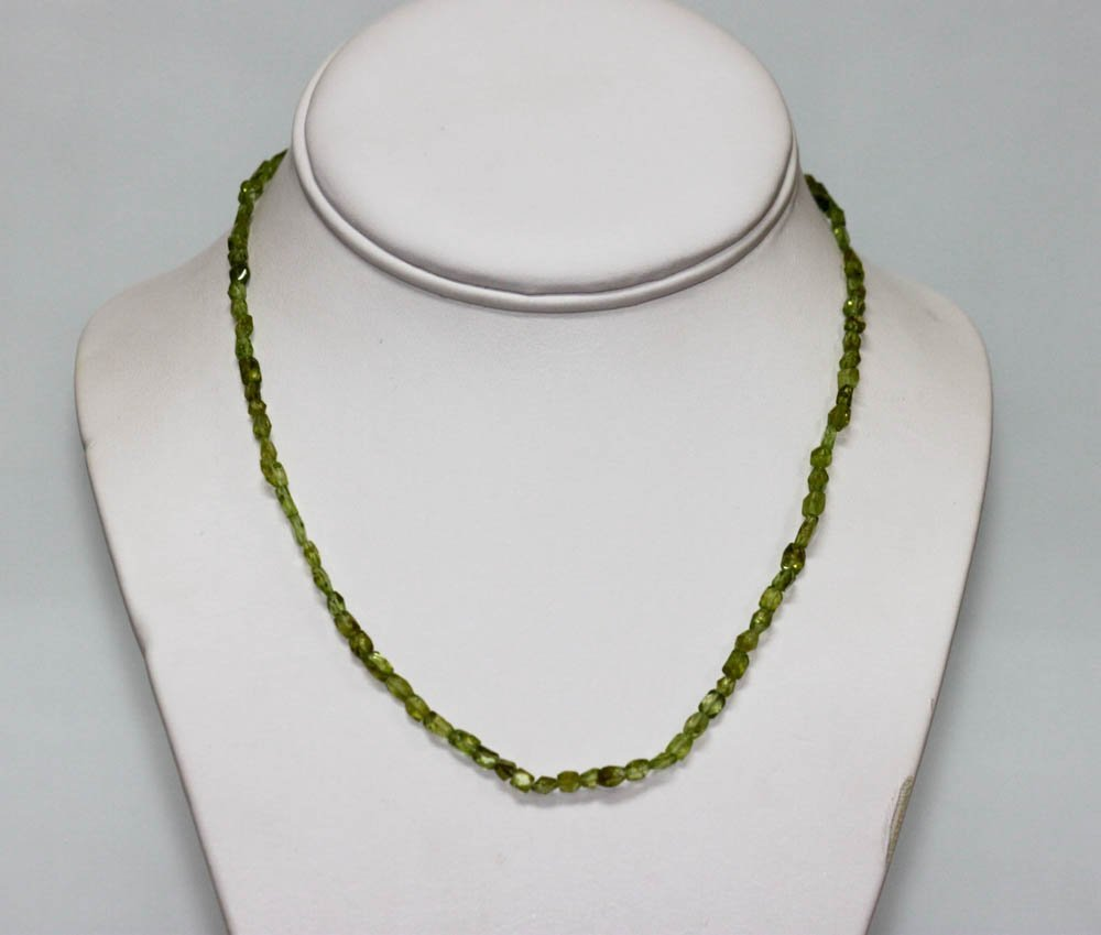 6.50 CTW Peridot Single Row Necklace with brass clasp
