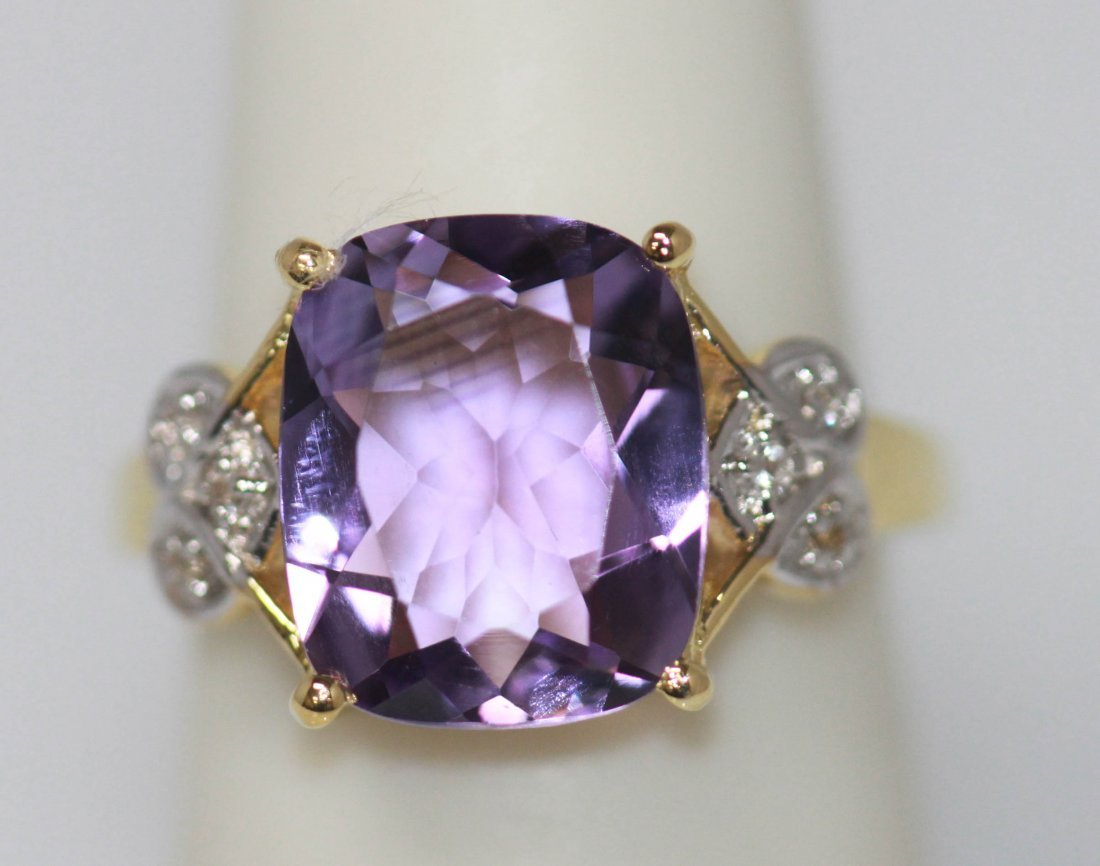 4.50 CTW 14K Gold Plated silver amethyst Ring
