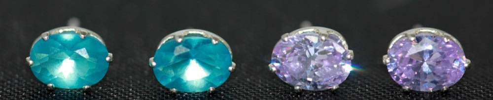 Blue Oval CZ And Lavender Oval CZ Earring Set .925 Ster