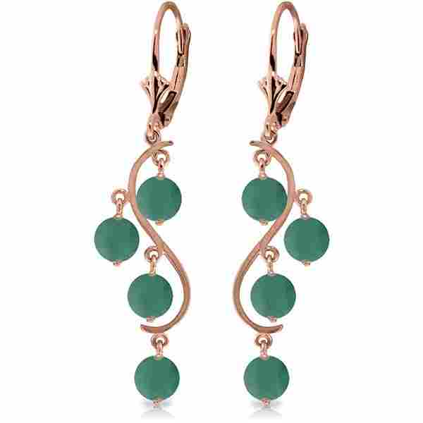 14k GOLD CHANDELIERS EARRING WITH NATURAL EMERALDS