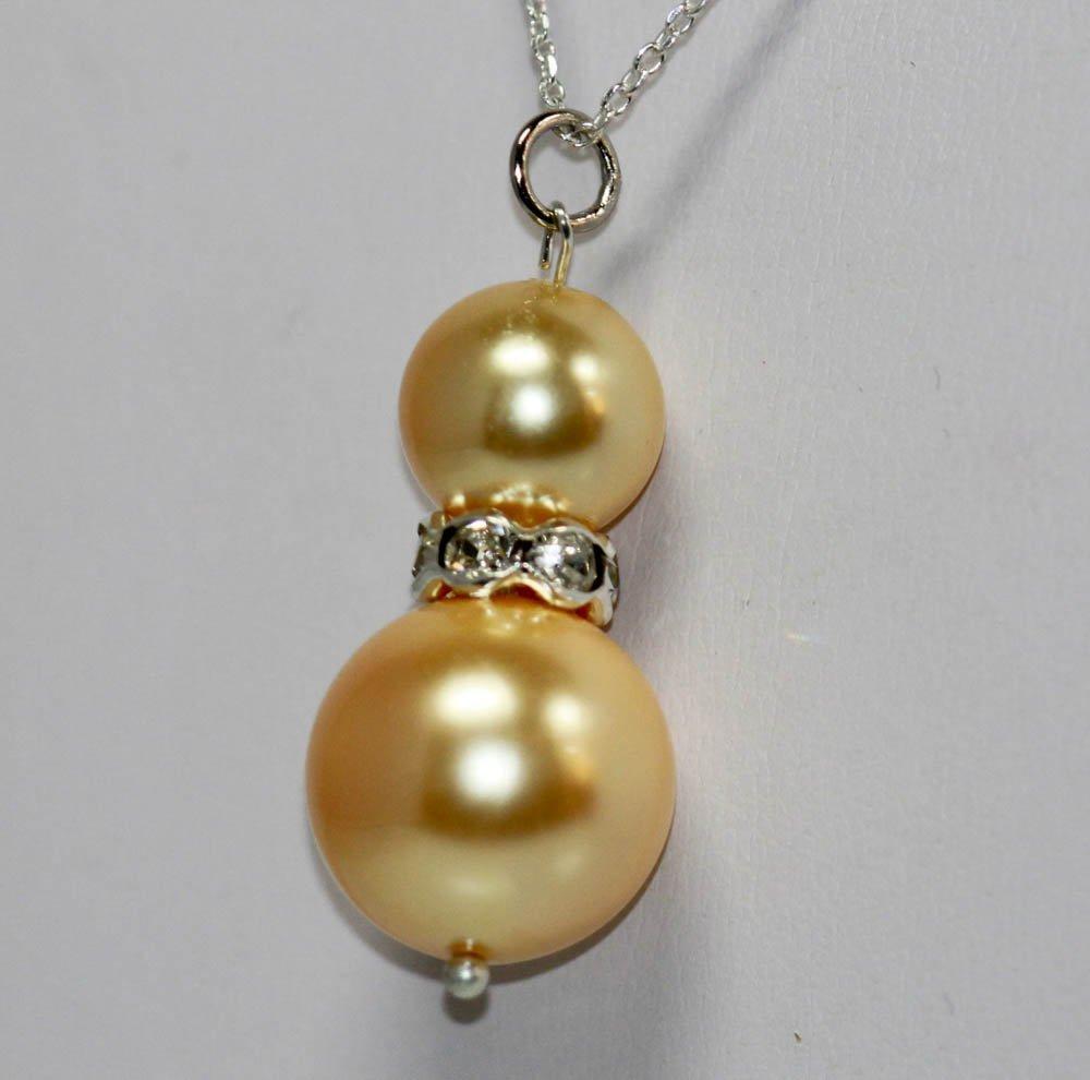 Stylish Round Birght Gold Pearl & CZ Pendant - 2