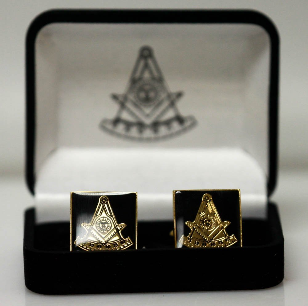 GOLD AND BLACK MASONIC CUFLINKS