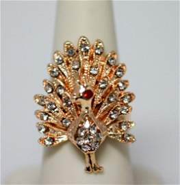 FASHION JEWELRY CZ AND RED CZ PEACOCK SHAPED BRASS RING