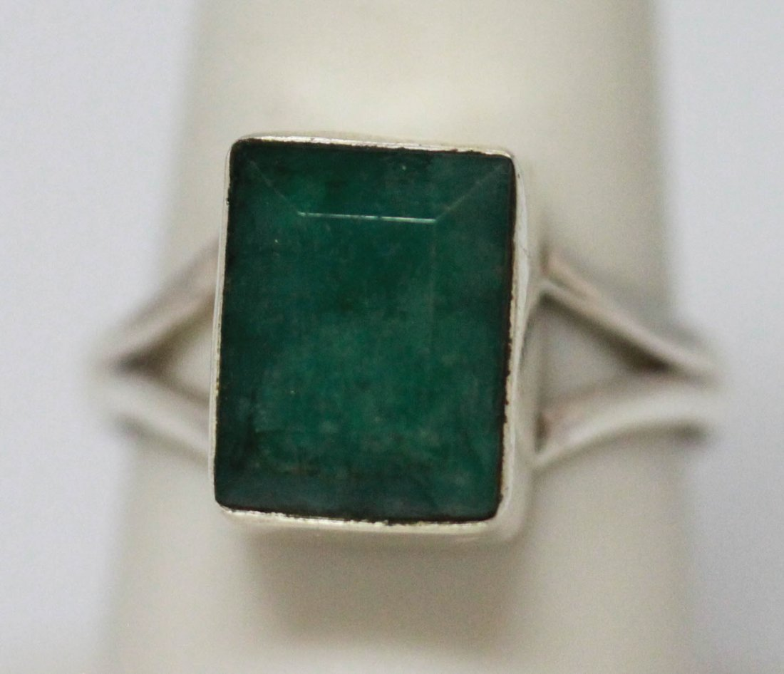 3.40 CTW NATURAL EMERALD CUT RING .925 STERLING SILVER