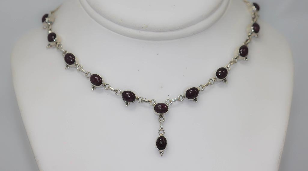 24.00 CTW RUBY .925 STERLING SILVER NECKLACE