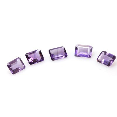 Natural 6.61ctw Amethyst Emerald Cut 6x8 (5) Stone